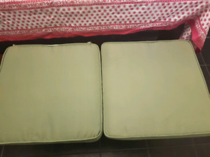 PIER ONE VERY NICE!!  TWO LARGE LIME GREEN PATIO CUSHIONS