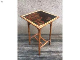 English Victorian Scorched Bamboo Lacquered Occasional Table / Chinoiserie Table