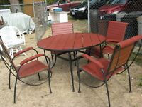 Wooden & Metal frame Patio table & 4 chairs