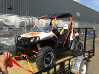 2013 RZR 800S LE (Orange/White) with a 2013 PJ Easy Load Trailer