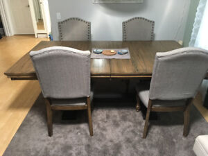 Large extendable rustic dining table + 4 grey chairs