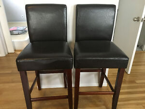 2 leather bar/kitchen stools