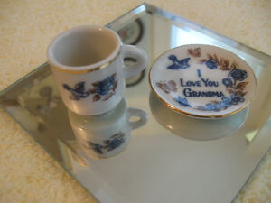 "MINIATURE CHINA ""I LOVE YOU GRANDMA"" CUP & SAUCER"