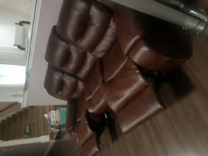 Leather recliner coach