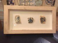 Box framed old pottery
