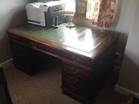 Green leather large desk