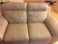 URGENT Sale-1500$ Genuine beige leather loveseat for only 200$