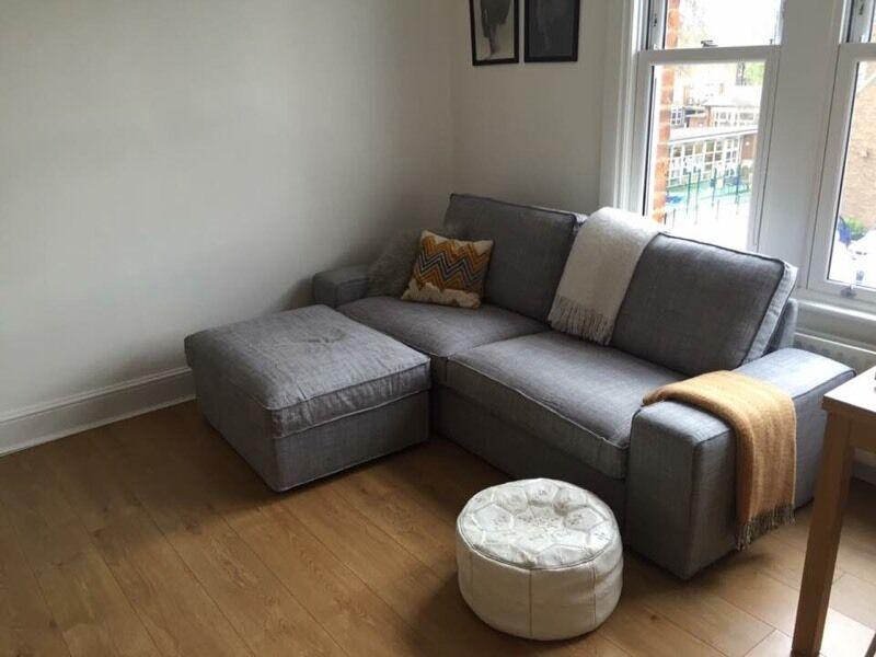 IKEA 3 Seater Grey KIVIK Sofa Footstool