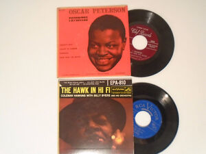 1950's Oscar Peterson and Coleman Hawkins 45 RPM Records