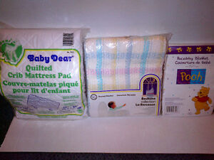 Crib Mattress Pad Thermal & Receiving Blankets NEW NOT OPENED