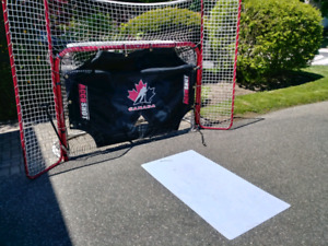 Hockey net, backstop, goalie target and ice pad.