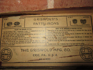 Griswold Patty Mold set includes 2 molds and a handle, 30's/40's Stratford Kitchener Area image 5