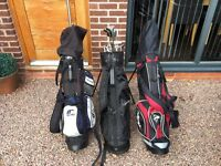 3 sets of right handed gold clubs with bags - job lot!