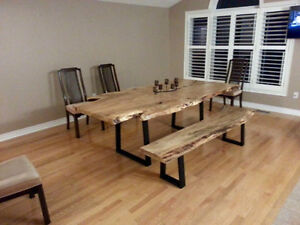 Rustic barnboard live edge custom tables cabinets benches doors Cambridge Kitchener Area image 10