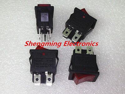 10pcs Red Light 4pin Onoff Kcd1-104n Dpst Rocker Switch 6a250v