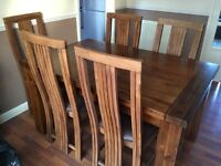Solid wood extending dining table & 6 chairs. Purchased from Lee Longlands @£700