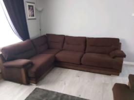 Brown corner sofa and 3 seater settee
