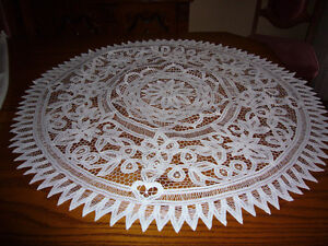 2 Battenburg Lace Round Table Runners