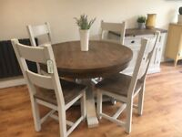 BNIB round rustic dining table and 4 chairs