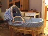Moses basket, kiddy care, blue