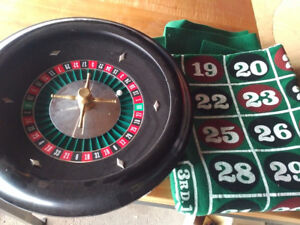 roulette wheel and felt layout