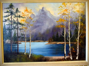 "Original Oil, Dorothy Hunter (Adams) ""Landscape with Mountains"" Stratford Kitchener Area image 3"