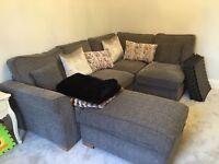 L Shaped Corner Sofa. Grey Tweed