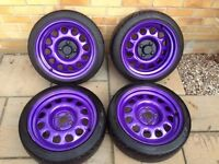 G60 banded steels - powder coated - purple - stretched tyres