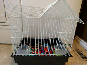 Bird cage and toys