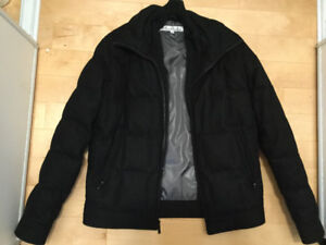 Kenneth Cole down+wool jacket (black) Men, size small. Excellent