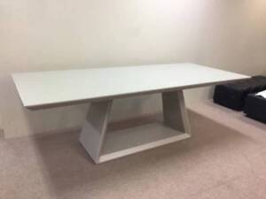 GREY glass top 2400 x 1000 Dining TABLE - SELL AS-IS - LAST