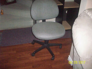 Grey Fabric Office Chair on Rollers-- PLUS- Nice  Computer Desk