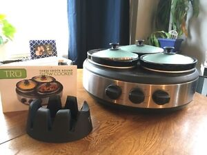 3 Crock Round Slow Cooker