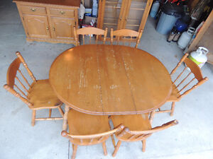 Solid Wood Table, Chairs, Buffet and Hutch