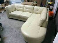 CREAM LEATHER CORNER SOFA CHAISE COUCH L SHAPE GOOD CONDITION DELIVERY POSSIBLE
