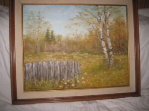 """Painting """"Fall Scene with Birch Tree"""" for Sale"""