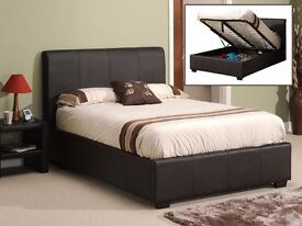 Black Brown OTTAMAN BED Double Storage Leather Bed with 9inch Semi Orthopaedic Mattress
