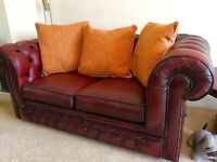 Red Ox Blood Leather Chesterfield, 2 seater sofa by Thomas Llyod