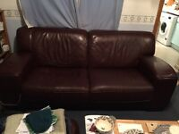3 + 2 Seater Brown Leather Sofas and Footstool