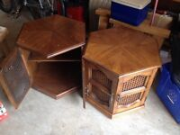 2 wood and wicker end tables