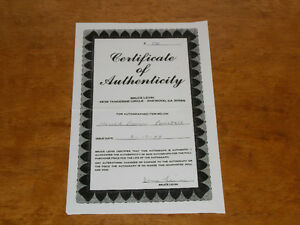 Certificate Of Authenticity - COAs - For Autographed Baseballs