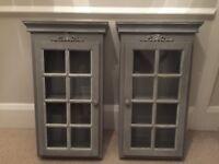 2 solid wood grey display cabinets