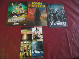 Water World, Avengers, John Carter, Bambi Movie Promo Cards