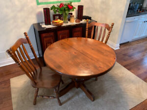 Round Solid Walnut Extendable Dining Room Table