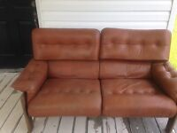 Vintage Leather and Teak Loveseat and Chair