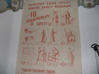 Rare 1960's Vintage Hunter Safety Training Information Chart