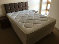 3 MONTH OLD DOUBLE BED AND TWEED HEADBOARD