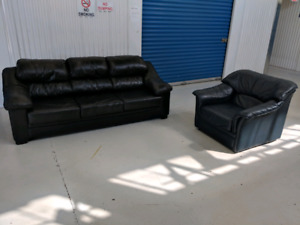 Genuine    Leather  3   Seater Sofa and Chair. Free Delivery.