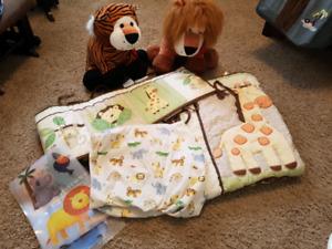 Jungle/Safari theme crib bedding set