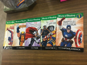 five (5) young reader marvel world of reading books level 1 thor